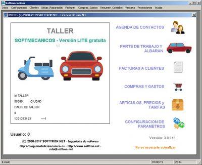 Programa Taller Mecanico Softmecanicos Inicio