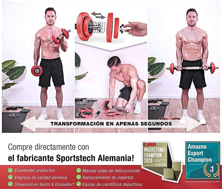 Mancuernas y barra de pesas Sporstech transformable 2 en 1 - Tienda Online Shop